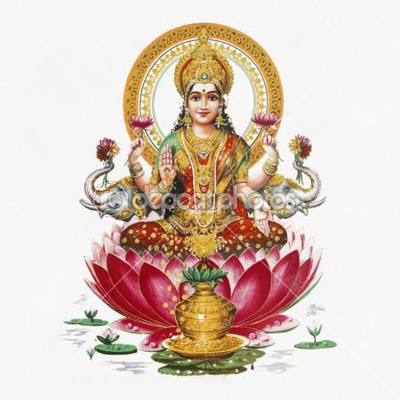 Постер изображение индийской богини Лакшми