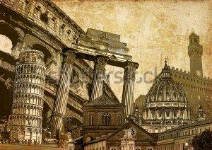 Тэг пизанская башня ru Фотообои Италия символы известные итальянские достопримечательности и памятники Реферат художественный стиль декупаж иллюстрации фона