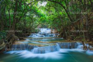 Фотообои Deep forest Waterfall in Kanchanaburi Thailand