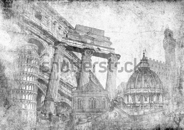 Фотообои Италия символы известные итальянские  Фотообои Италия символы известные итальянские достопримечательности и памятники Реферат художественный стиль декупаж иллюстрации фона