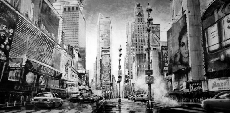 Фотообои черно белые города