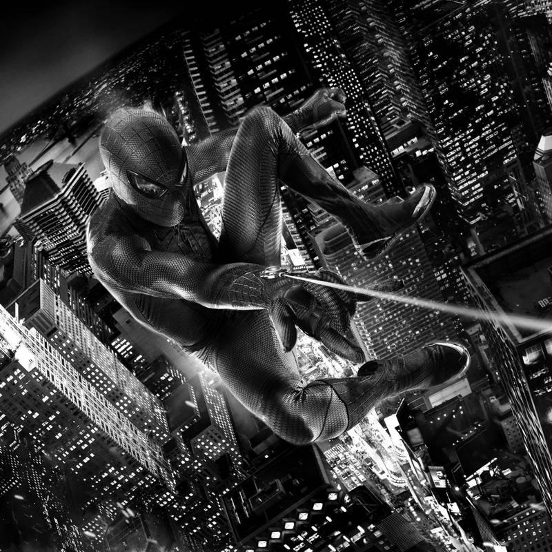 человек паук черно-белые картинки