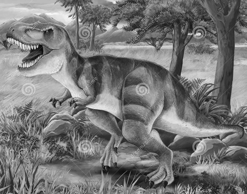 динозавры картинки черно белые