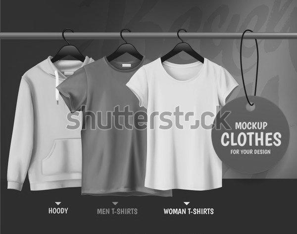 Постер Макет одежды для вашего дизайна.Толстовка. Мужчины T-рубашки. Женщина  футболки dad4fb707ed