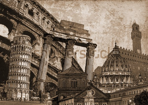 Постер Италия символы известные итальянские  Постер Италия символы известные итальянские достопримечательности и памятники Реферат художественный стиль декупаж иллюстрации фона с Колизей