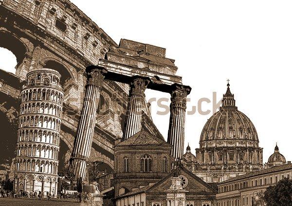 Постер Италия символы известные итальянские  Постер Италия символы известные итальянские достопримечательности и памятники Реферат художественный стиль декупажа фоновая иллюстрация с Колизей